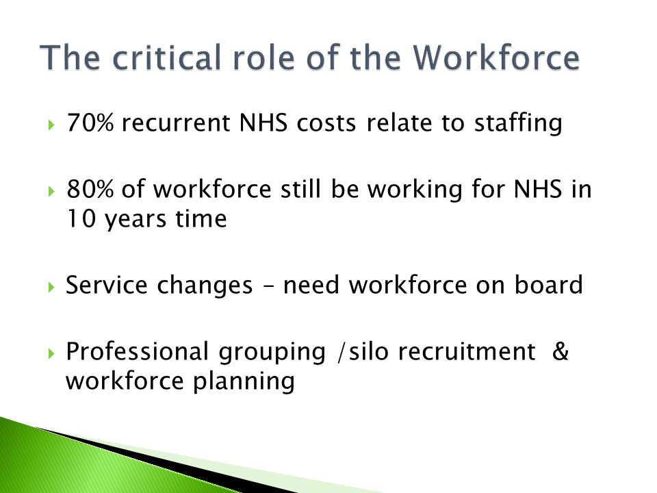  70% recurrent NHS costs relate to staffing  80% of workforce still be working for NHS in 10 years time  Service changes – need workforce on board  Professional grouping /silo recruitment & workforce planning