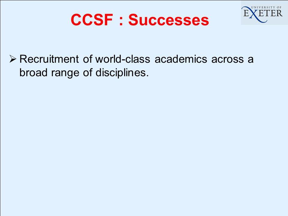  Recruitment of world-class academics across a broad range of disciplines. CCSF : Successes