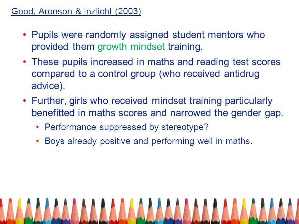 Good, Aronson & Inzlicht (2003) Pupils were randomly assigned student mentors who provided them growth mindset training.