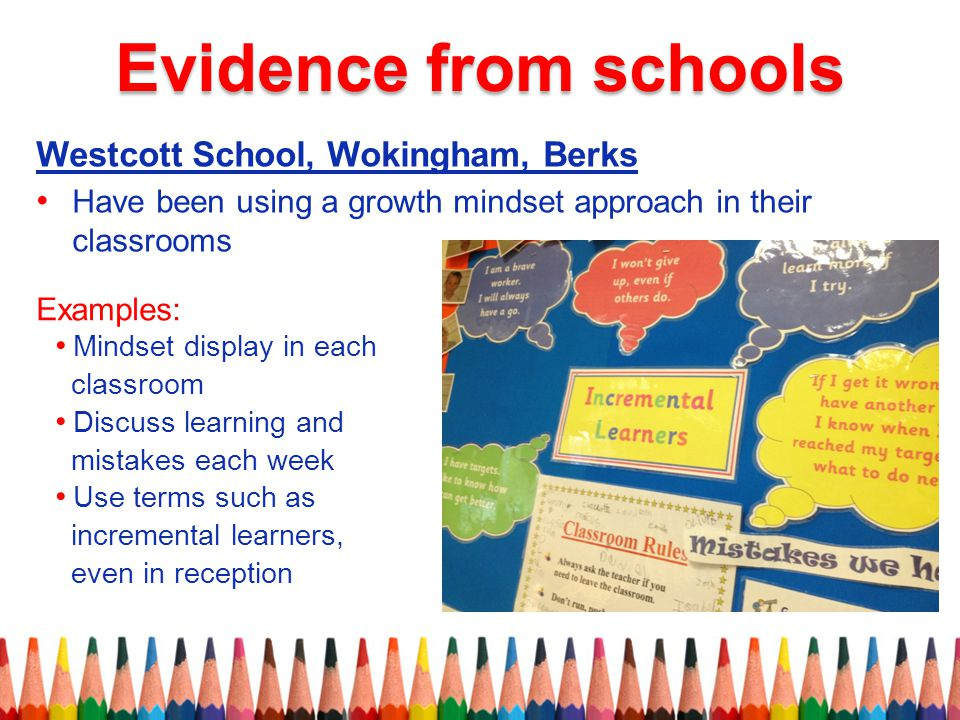 Westcott School, Wokingham, Berks Have been using a growth mindset approach in their classrooms Examples: Mindset display in each classroom Discuss learning and mistakes each week Use terms such as incremental learners, even in reception Evidence from schools