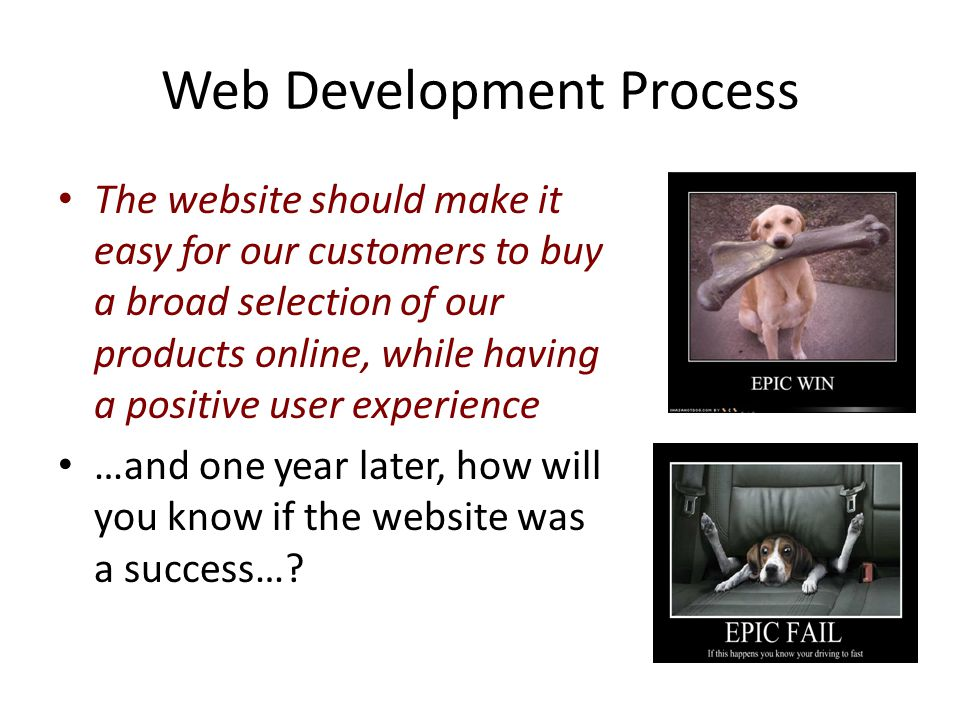 Web Development Process The website should make it easy for our customers to buy a broad selection of our products online, while having a positive user experience …and one year later, how will you know if the website was a success…?