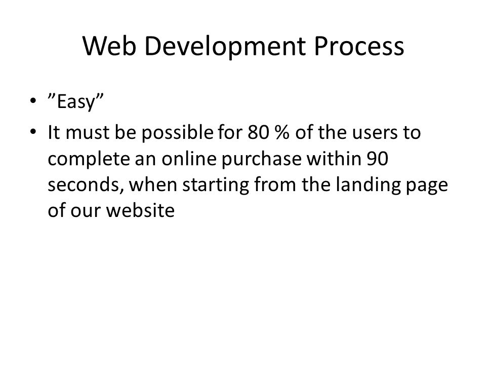 Web Development Process Easy It must be possible for 80 % of the users to complete an online purchase within 90 seconds, when starting from the landing page of our website