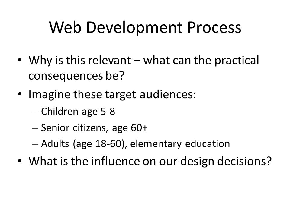 Web Development Process Why is this relevant – what can the practical consequences be.