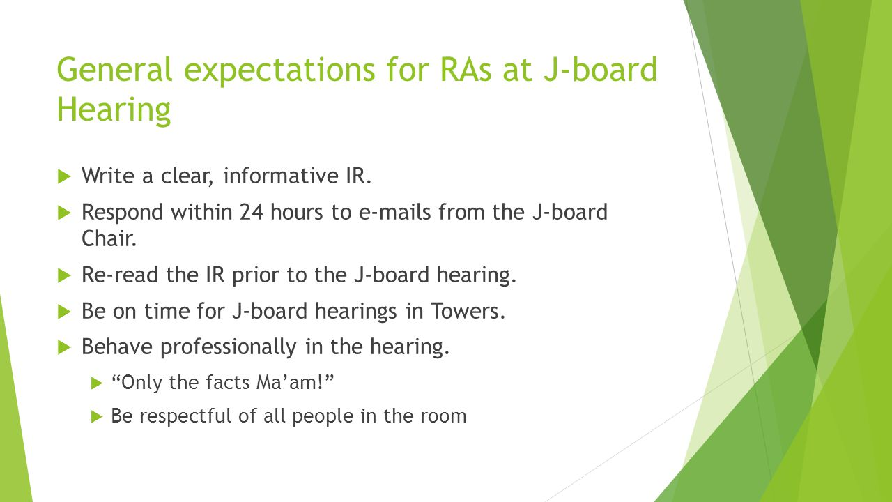 General expectations for RAs at J-board Hearing  Write a clear, informative IR.