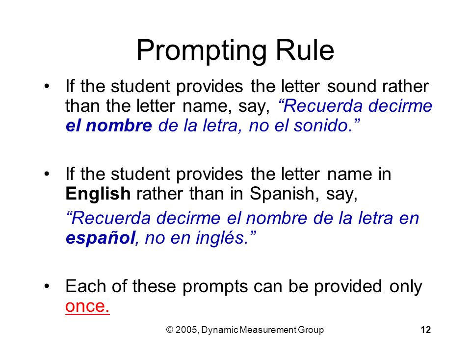 © 2005, Dynamic Measurement Group12 Prompting Rule If the student provides the letter sound rather than the letter name, say, Recuerda decirme el nombre de la letra, no el sonido. If the student provides the letter name in English rather than in Spanish, say, Recuerda decirme el nombre de la letra en español, no en inglés. Each of these prompts can be provided only once.