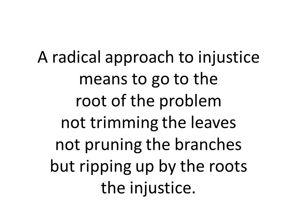 A radical approach to injustice means to go to the root of the problem not trimming the leaves not pruning the branches but ripping up by the roots the injustice.