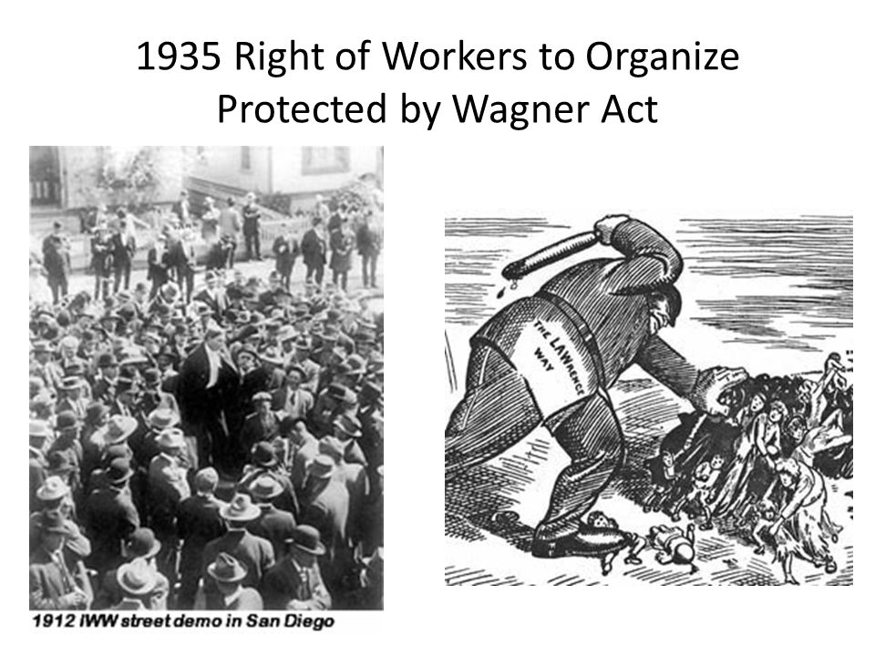 1935 Right of Workers to Organize Protected by Wagner Act