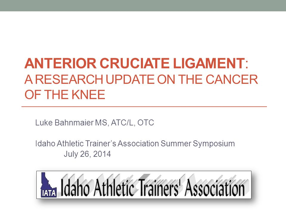 ANTERIOR CRUCIATE LIGAMENT: A RESEARCH UPDATE ON THE CANCER OF THE KNEE Luke Bahnmaier MS, ATC/L, OTC Idaho Athletic Trainer's Association Summer Symp