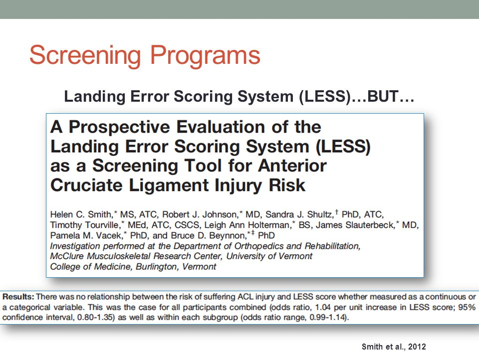 Screening Programs Landing Error Scoring System (LESS)…BUT… Smith et al., 2012