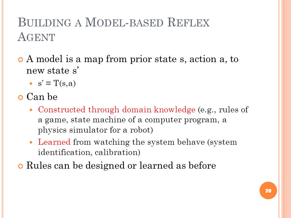 B UILDING A M ODEL - BASED R EFLEX A GENT A model is a map from prior state s, action a, to new state s' s' = T(s,a) Can be Constructed through domain knowledge (e.g., rules of a game, state machine of a computer program, a physics simulator for a robot) Learned from watching the system behave (system identification, calibration) Rules can be designed or learned as before 20