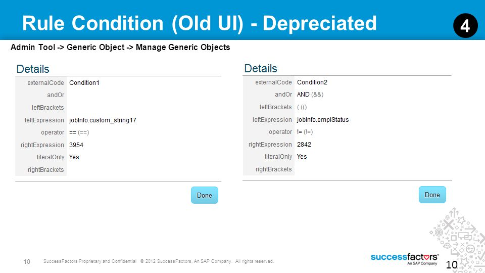 10 SuccessFactors Proprietary and Confidential © 2012 SuccessFactors, An SAP Company. All rights reserved. Rule Condition (Old UI) - Depreciated 10 4