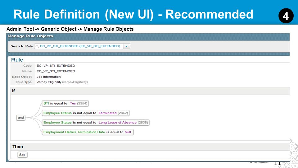 11 SuccessFactors Proprietary and Confidential © 2012 SuccessFactors, An SAP Company. All rights reserved. Rule Definition (New UI) - Recommended 11 4
