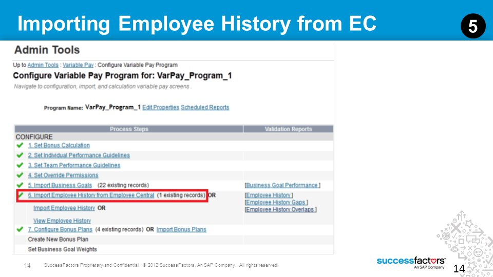 14 SuccessFactors Proprietary and Confidential © 2012 SuccessFactors, An SAP Company. All rights reserved. Importing Employee History from EC 14 5