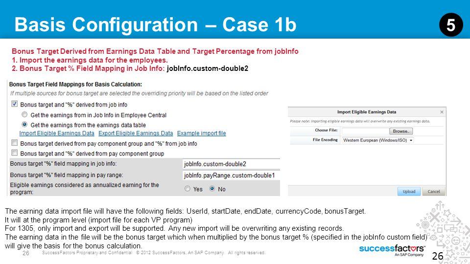 26 SuccessFactors Proprietary and Confidential © 2012 SuccessFactors, An SAP Company. All rights reserved. Basis Configuration – Case 1b 26 5 Bonus Ta
