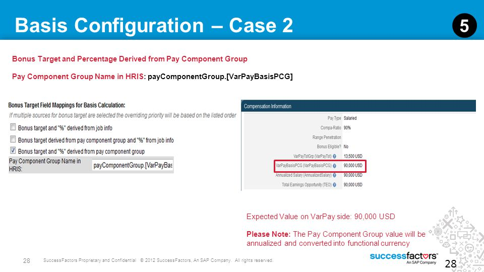 28 SuccessFactors Proprietary and Confidential © 2012 SuccessFactors, An SAP Company. All rights reserved. Basis Configuration – Case 2 28 5 Bonus Tar