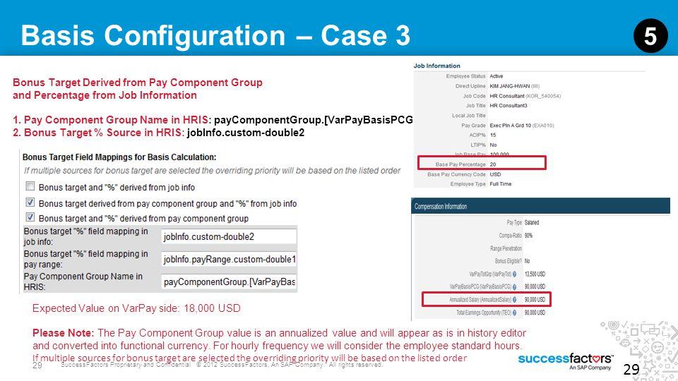 29 SuccessFactors Proprietary and Confidential © 2012 SuccessFactors, An SAP Company. All rights reserved. Basis Configuration – Case 3 29 5 Bonus Tar