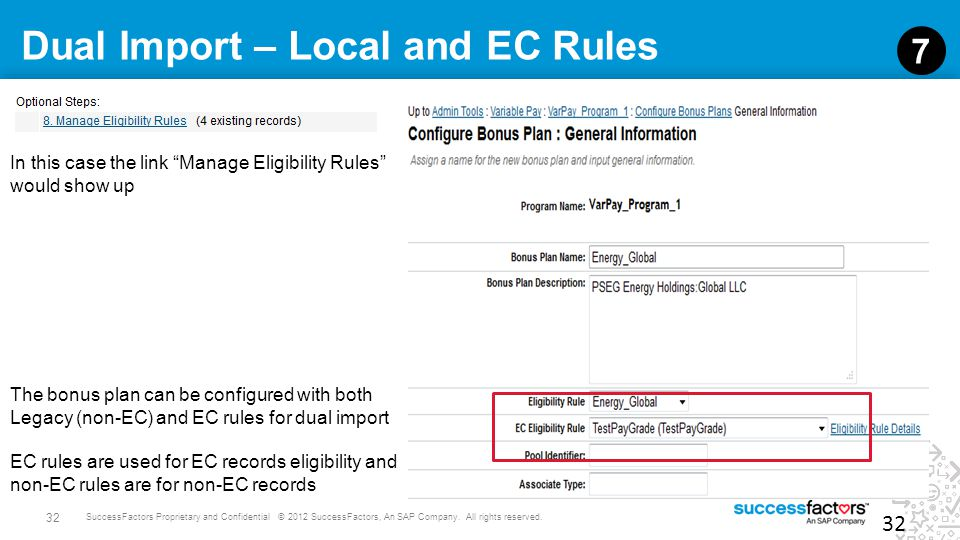 32 SuccessFactors Proprietary and Confidential © 2012 SuccessFactors, An SAP Company. All rights reserved. Dual Import – Local and EC Rules 32 7 The b