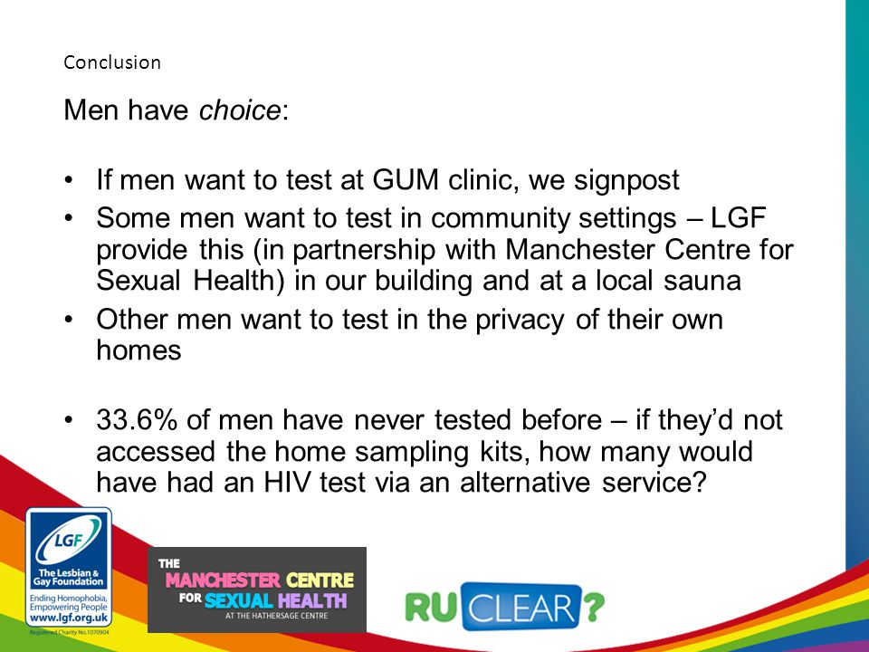 Men have choice: If men want to test at GUM clinic, we signpost Some men want to test in community settings – LGF provide this (in partnership with Manchester Centre for Sexual Health) in our building and at a local sauna Other men want to test in the privacy of their own homes 33.6% of men have never tested before – if they'd not accessed the home sampling kits, how many would have had an HIV test via an alternative service.