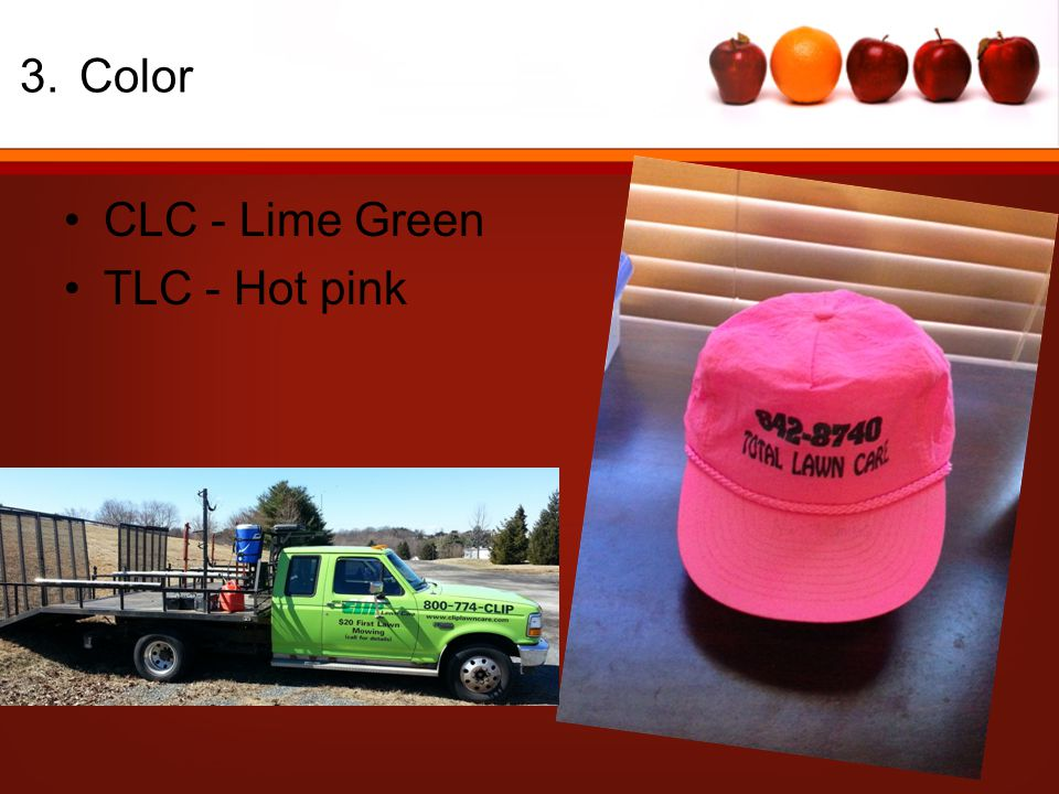 3.Color CLC - Lime Green TLC - Hot pink