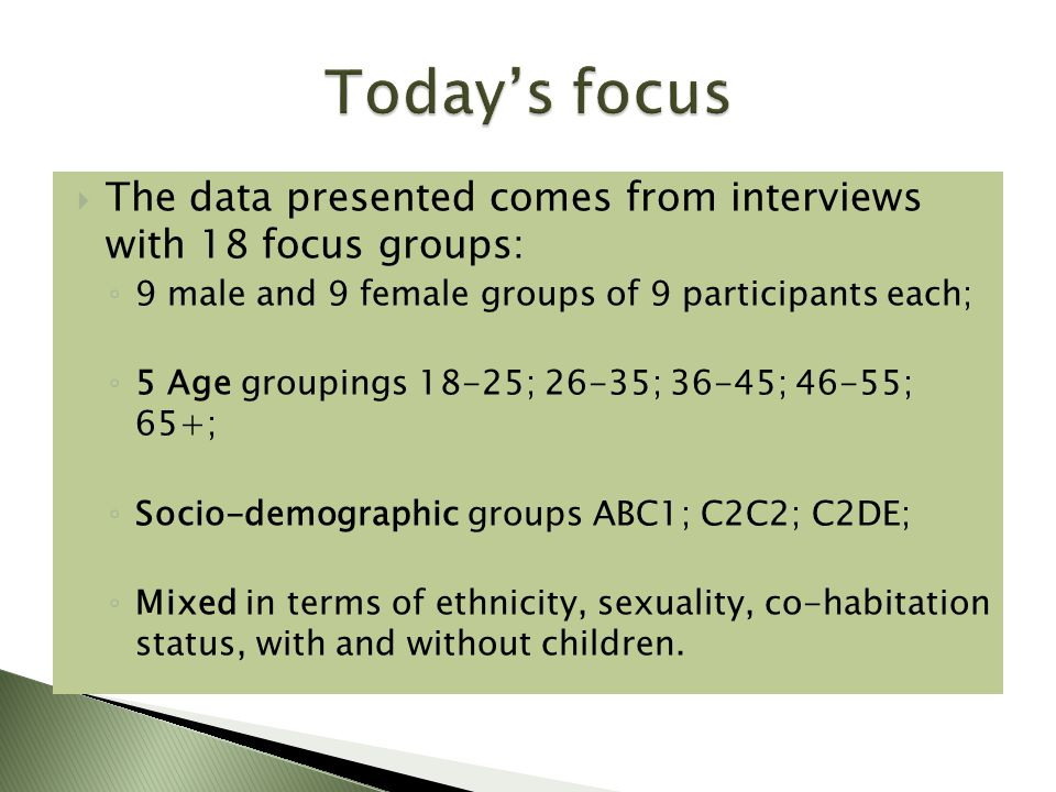  The data presented comes from interviews with 18 focus groups: ◦ 9 male and 9 female groups of 9 participants each; ◦ 5 Age groupings 18-25; 26-35; 36-45; 46-55; 65+; ◦ Socio-demographic groups ABC1; C2C2; C2DE; ◦ Mixed in terms of ethnicity, sexuality, co-habitation status, with and without children.