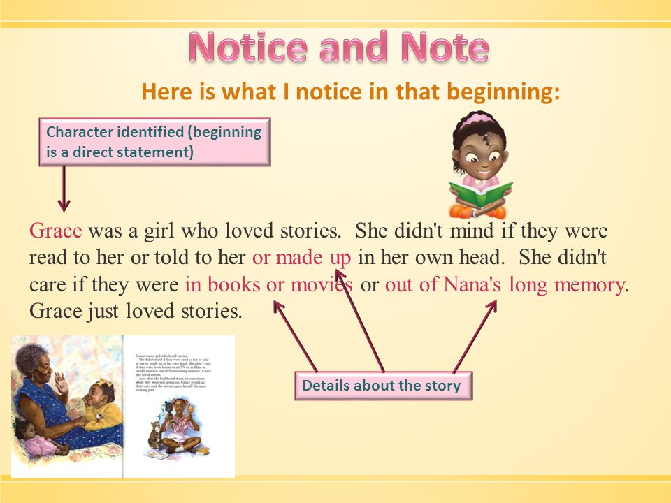 Here is what else I noticed: Grace was a girl who loved stories.