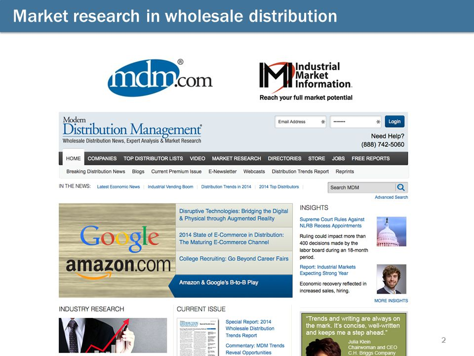 2 Market research in wholesale distribution