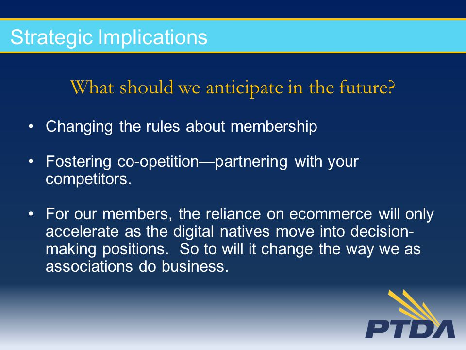 Strategic Implications What should we anticipate in the future? Changing the rules about membership Fostering co-opetition—partnering with your compet