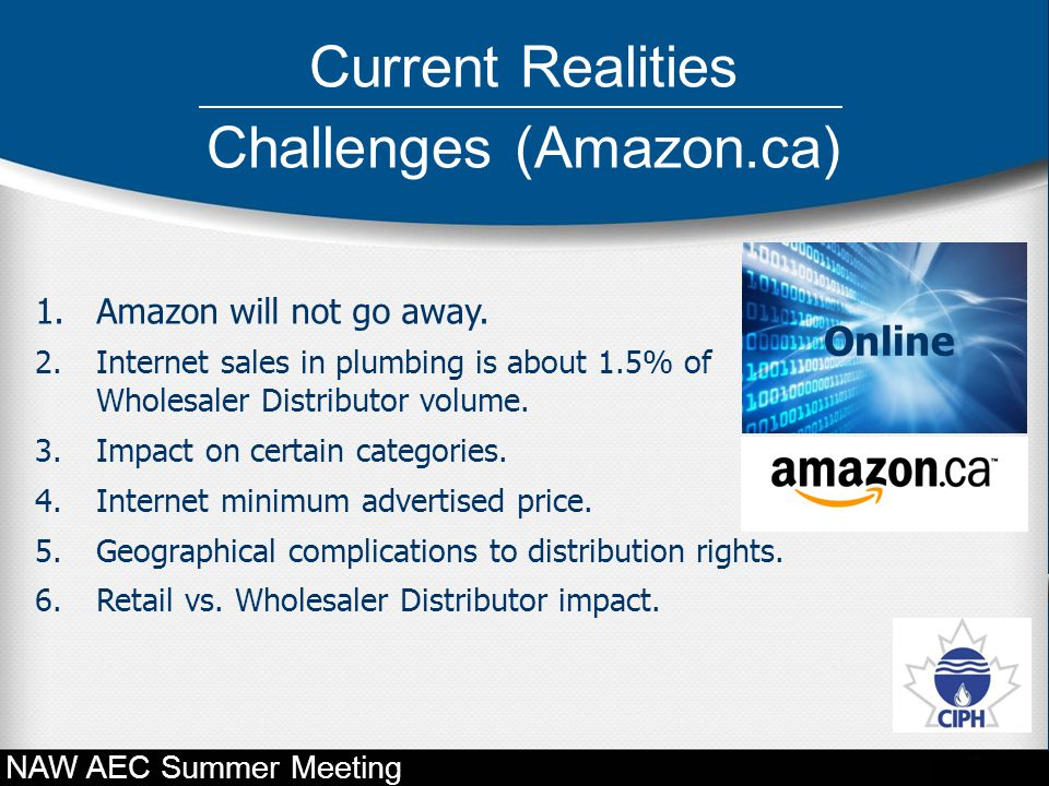 1.Amazon will not go away. 2.Internet sales in plumbing is about 1.5% of Wholesaler Distributor volume. 3.Impact on certain categories. 4.Internet min