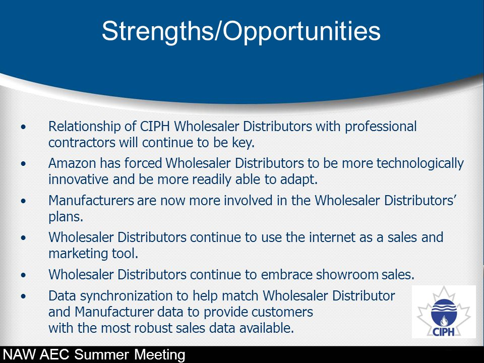 Relationship of CIPH Wholesaler Distributors with professional contractors will continue to be key. Amazon has forced Wholesaler Distributors to be mo