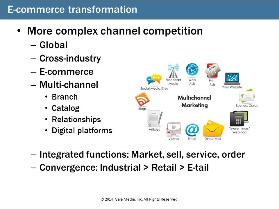 More complex channel competition – Global – Cross-industry – E-commerce – Multi-channel Branch Catalog Relationships Digital platforms – Integrated fu