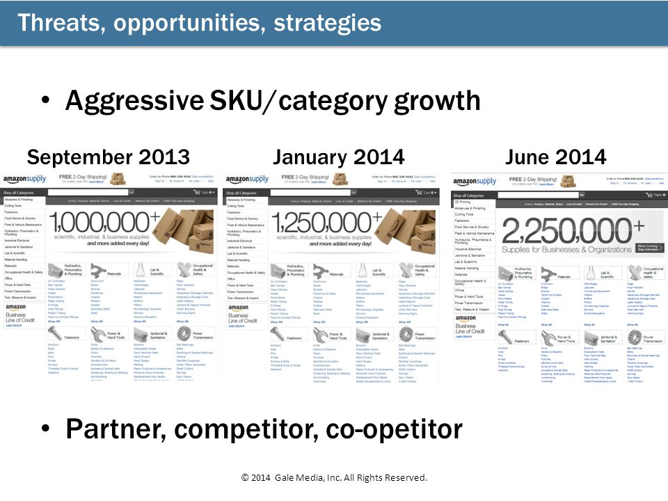 Threats, opportunities, strategies © 2014 Gale Media, Inc. All Rights Reserved. September 2013January 2014June 2014 Aggressive SKU/category growth Par