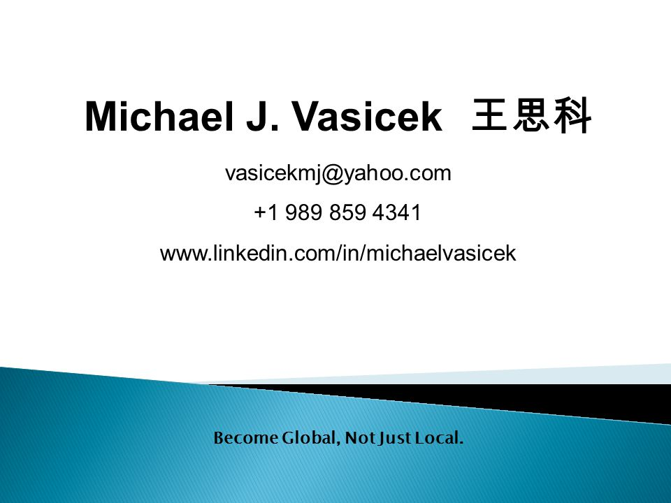Michael J. Vasicek 王思科 vasicekmj@yahoo.com +1 989 859 4341 www.linkedin.com/in/michaelvasicek PERSONAL AND CONFIDENTIAL Become Global, Not Just Local.