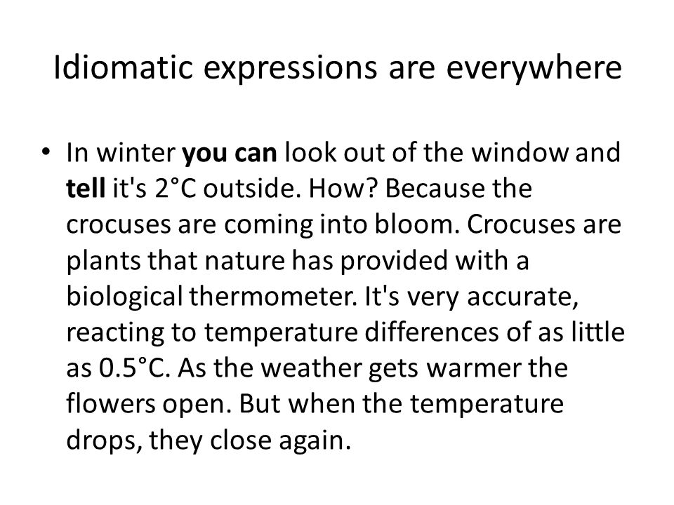 Idiomatic expressions are everywhere In winter you can look out of the window and tell it's 2°C outside. How? Because the crocuses are coming into blo