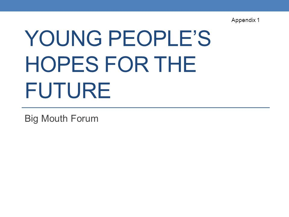 YOUNG PEOPLE'S HOPES FOR THE FUTURE Big Mouth Forum Appendix 1
