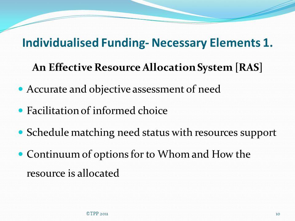 Individualised Funding- Necessary Elements 1.