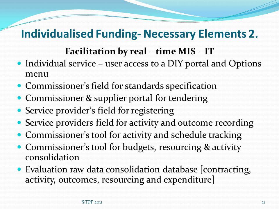 Individualised Funding- Necessary Elements 2.
