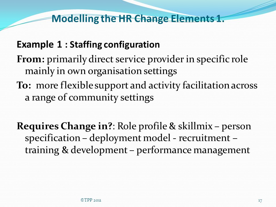 Modelling the HR Change Elements 1.