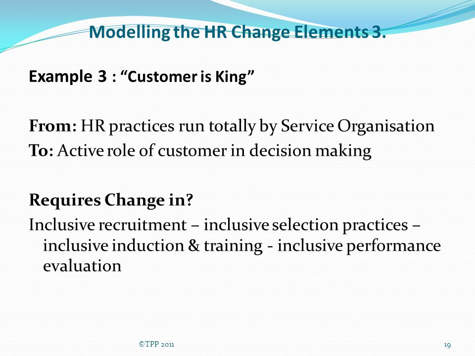 Modelling the HR Change Elements 3.