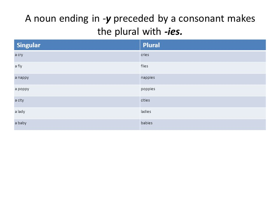 A noun ending in -y preceded by a consonant makes the plural with -ies.