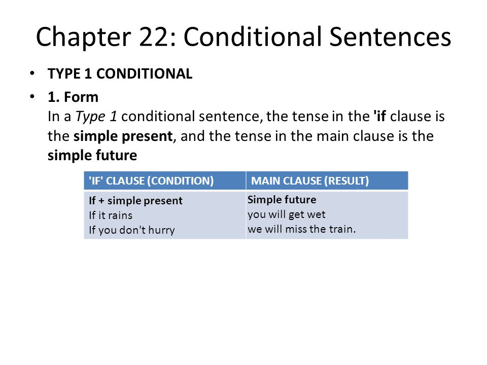 Chapter 22: Conditional Sentences TYPE 1 CONDITIONAL 1.