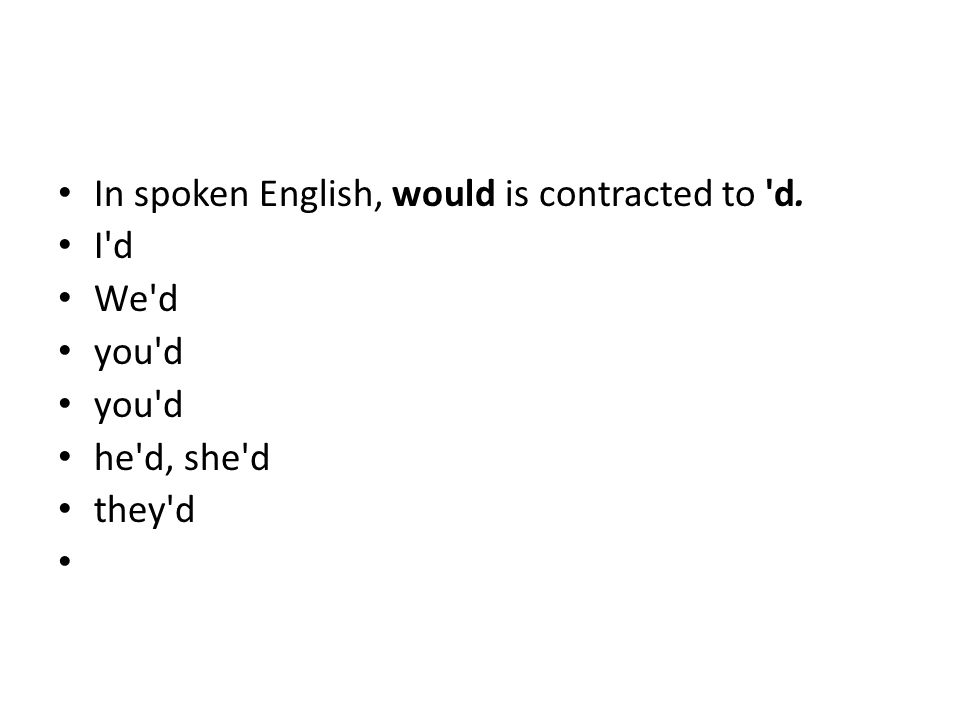 In spoken English, would is contracted to d. I d We d you d he d, she d they d
