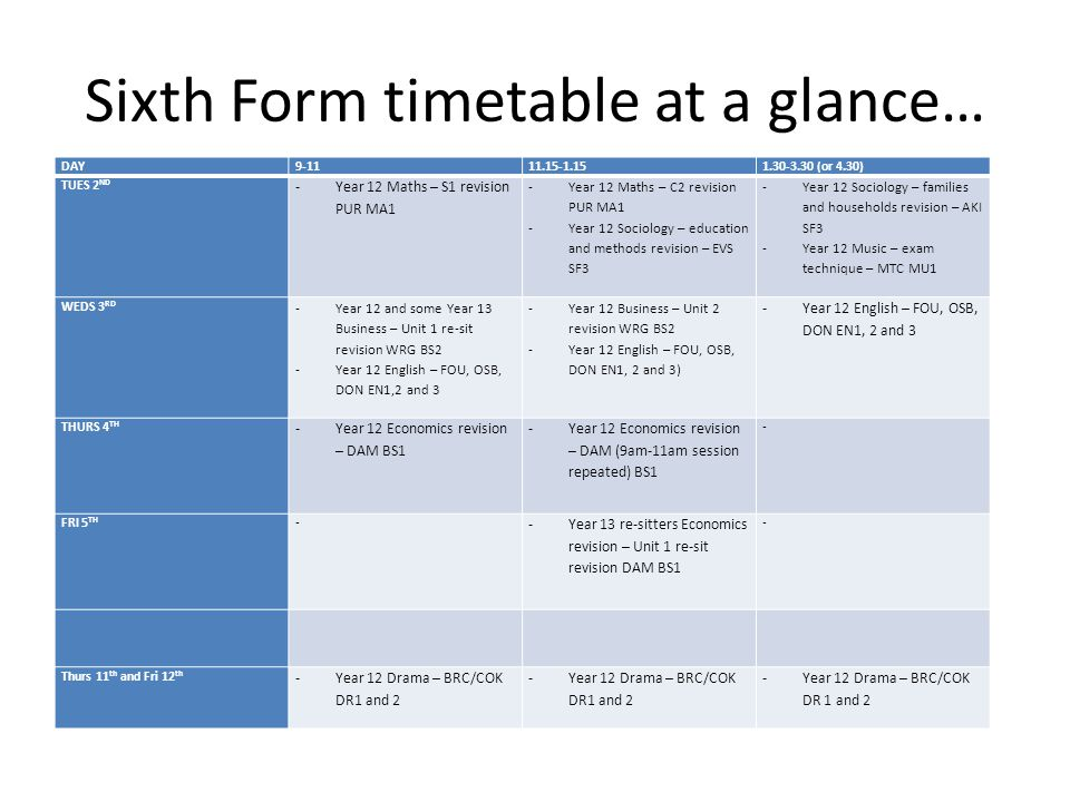 Year 11 timetable at a glance… DAY9-1111.15-1.151.30-3.30 (or 4.30) TUES 2 ND -Graphics exam revision 9-12 THM DT3 -Resistant Materials exam revision