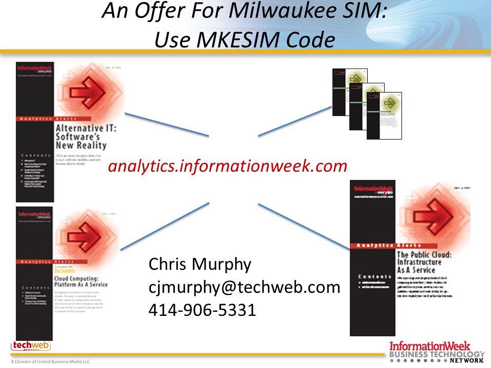 An Offer For Milwaukee SIM: Use MKESIM Code analytics.informationweek.com Chris Murphy cjmurphy@techweb.com 414-906-5331