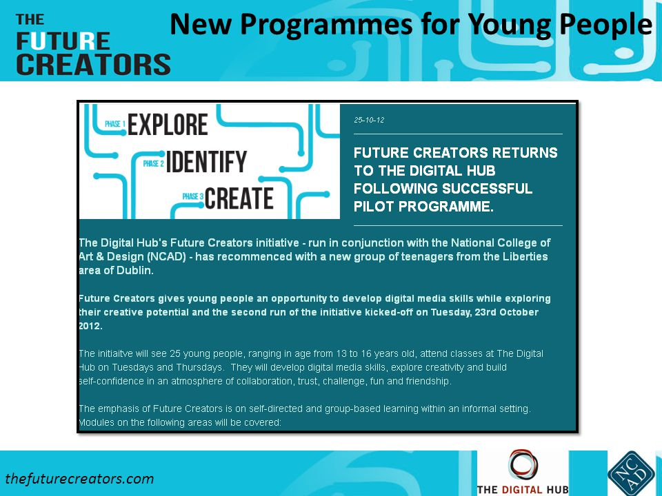 thefuturecreators.com New Programmes for Young People