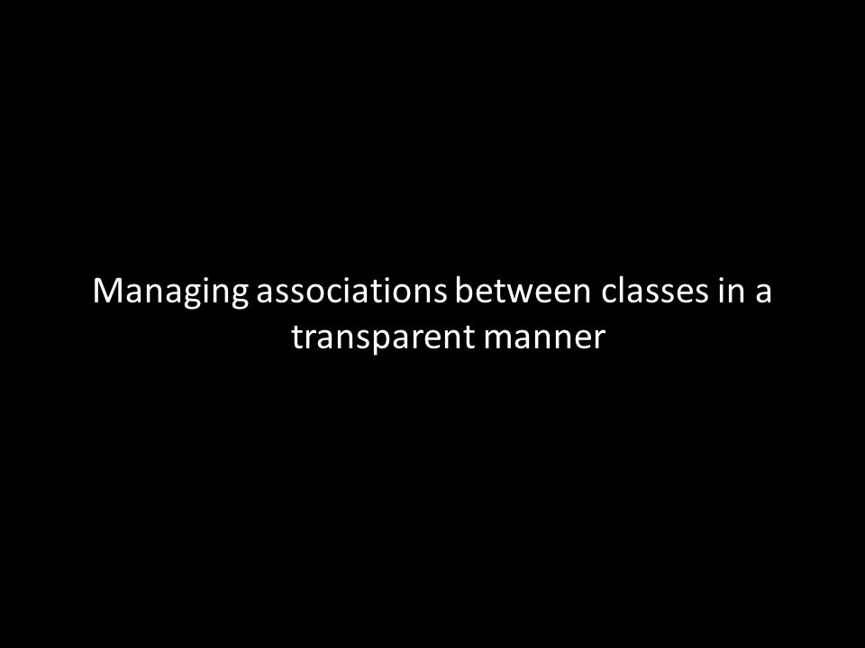 Managing associations between classes in a transparent manner