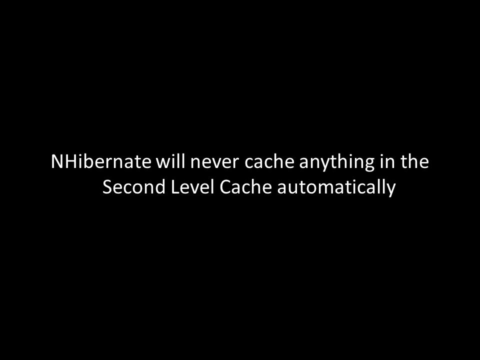 NHibernate will never cache anything in the Second Level Cache automatically