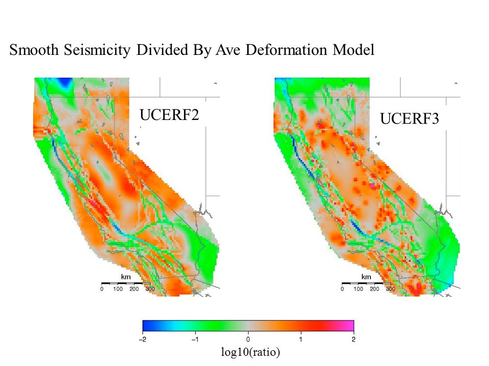 Smooth Seismicity Divided By Ave Deformation Model log10(ratio) UCERF2 UCERF3
