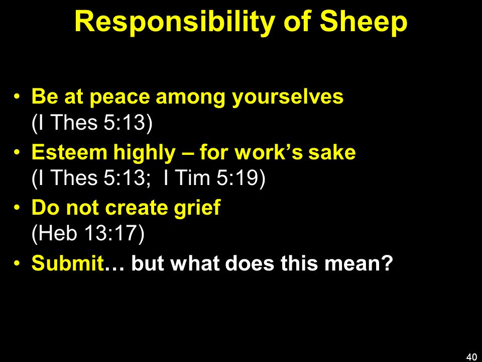 Responsibility of Sheep Be at peace among yourselves (I Thes 5:13) Esteem highly – for work's sake (I Thes 5:13; I Tim 5:19) Do not create grief (Heb 13:17) Submit… but what does this mean.