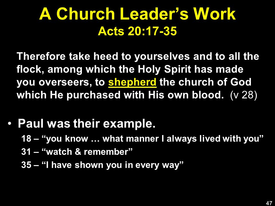 A Church Leader's Work Acts 20:17-35 Paul was their example.