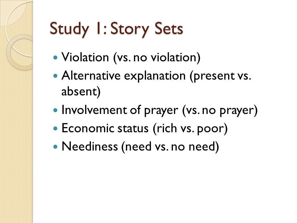 Study 1: Story Sets Violation (vs. no violation) Alternative explanation (present vs.